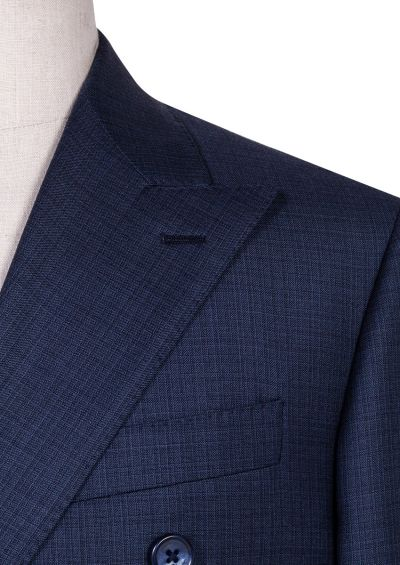 Maurice Double-Beasted Suit | Micro Light Blue Check