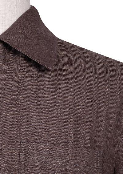 Carter Shirt Jacket | Mid Brown flax Herringbone
