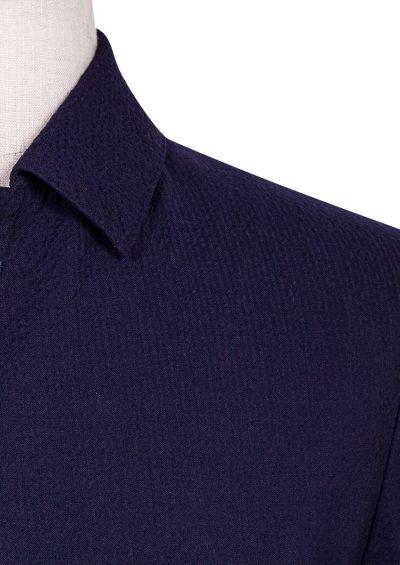 Arienzo Shirt Jacket | Navy Seersucker