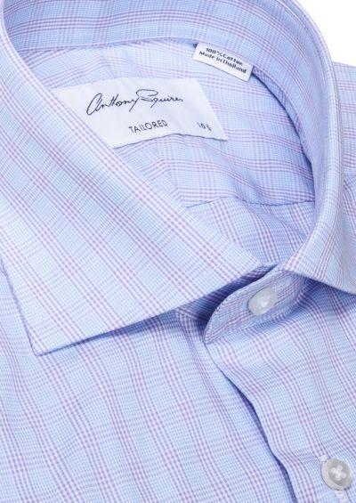 Nigel Business Shirt I Blue with Lilac Overcheck