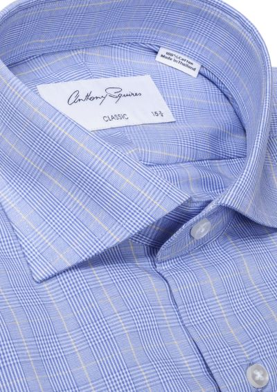 Miles Business Shirt I Blue with Prince of Wales Check