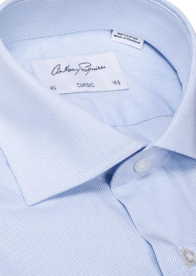 Miles Business Shirt I Blue Microcheck