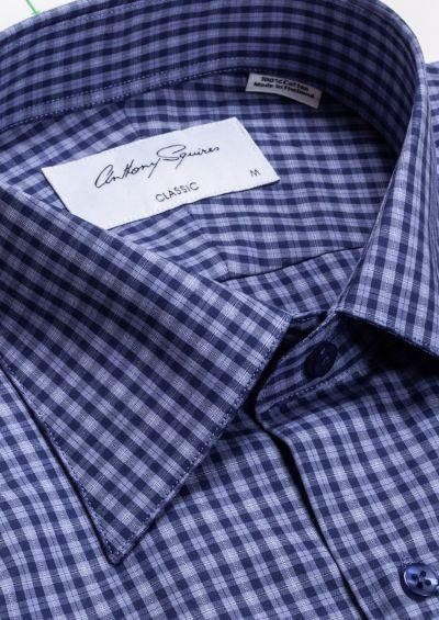 Hubert Casual Shirt | Navy Blue Check