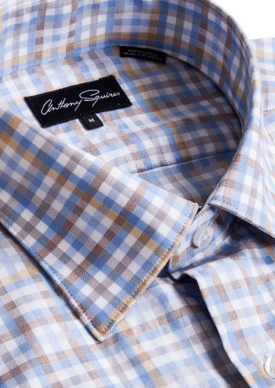 Colin Casual Shirt   Blue/Beige Check