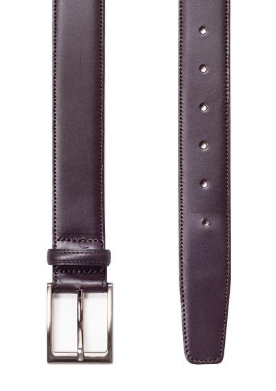 Dark brown leather belt | Stitched