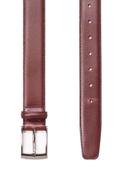 Tan leather belt | Stitched