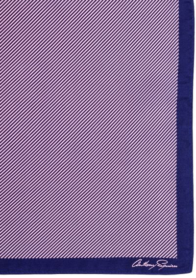 Silk Pocket Square | Navy Pink Stripe