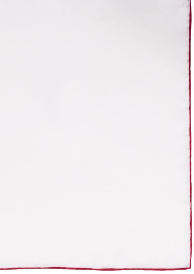 Silk Pocket Square | White Red Trim