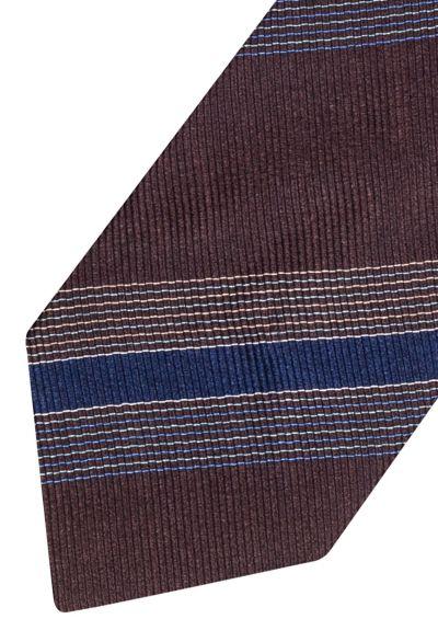 Silk Tie | Brown with Blue Stripe