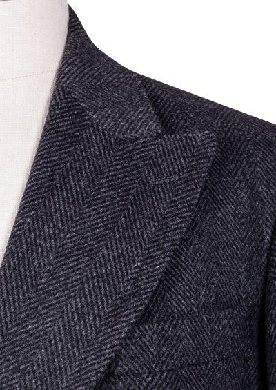 Elroy Double-Breasted Overcoat | Charcoal Herringbone