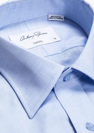 Roy Business Shirt | Light Blue Self Design