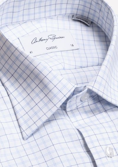 Roy Business Shirt | White Navy Fine Check