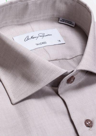 Nigel Business Shirt | Beige Self Design