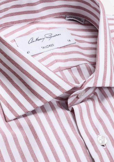 Nigel Business Shirt | White Burgundy Stripe