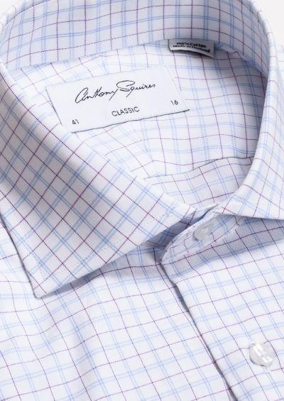 Miles Business Shirt | Blue Lilac Fine Check