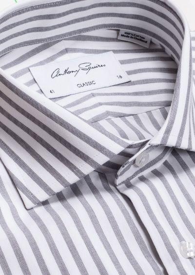 Miles Business Shirt | White Grey Stripe