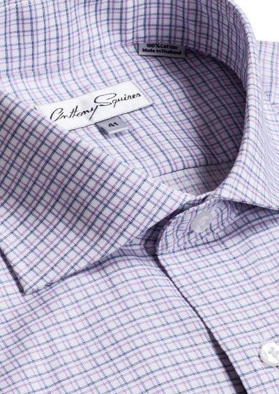 Bruce Business Shirt | Blue/Lilac Check