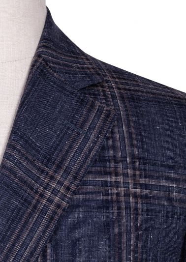 Arthur Sport Coat | Navy flax Windowpane