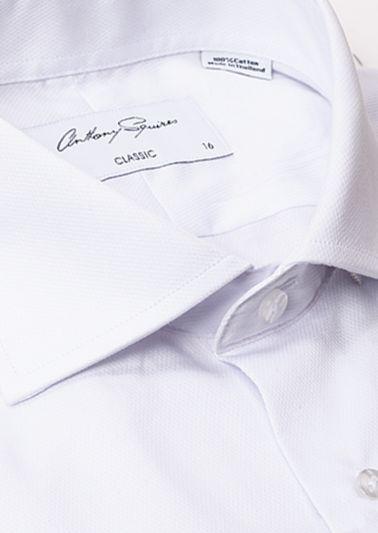 Keaton Business Shirt | White Self Design