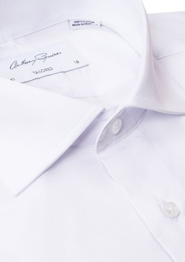 Nigel Business Shirt | White Self Design