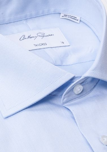 Nigel Business Shirt | Blue Self Design