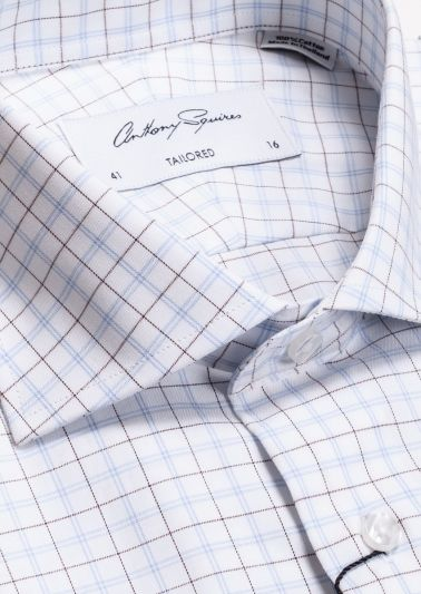 Nigel Business Shirt | Blue Brown Fine Check