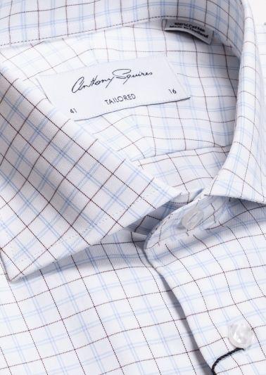 Nigel Business Shirt | Blue Brown Fine Check