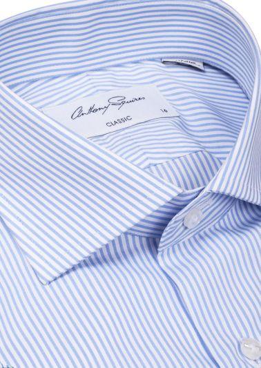 Miles Business Shirt | White Blue Bengal Stripe