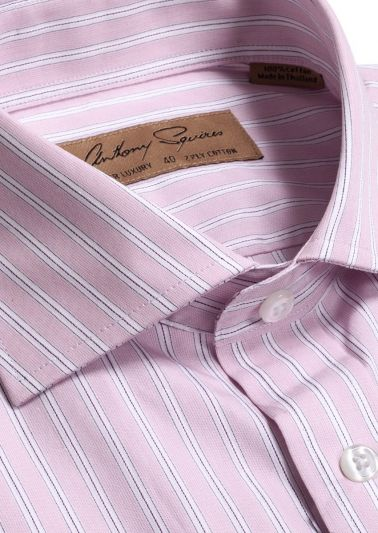 Coogee Luxury Shirt | Pink Satin Stripe