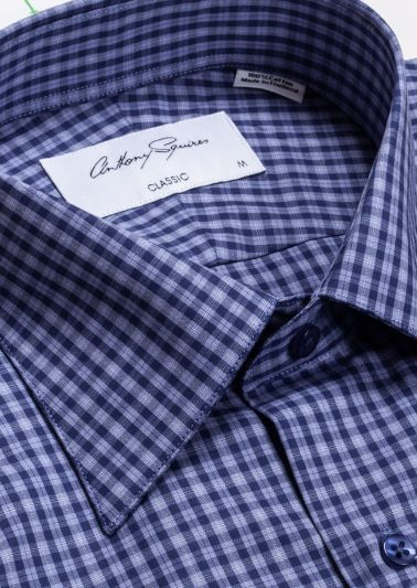 Hubert Casual Shirt | Navy Blue Check