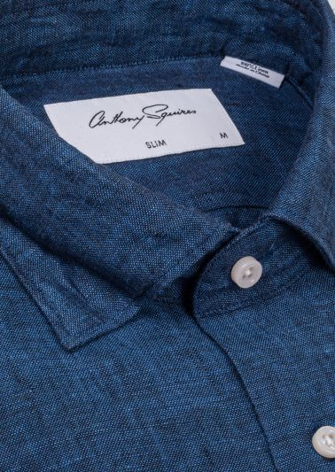 Riley Casual Shirt | Dark Blue Flax