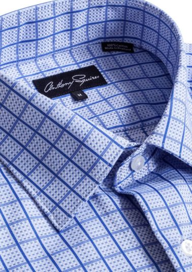 Colin Casual Shirt | Blue Design Check