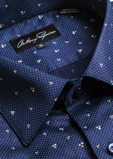 Colin Shirt | Navy Dot Print
