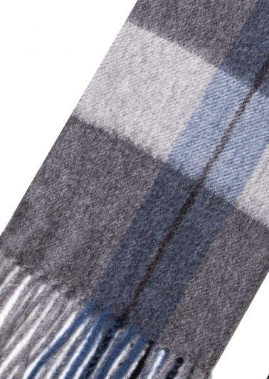 Cashmere Scarf | Grey Blue Tartan