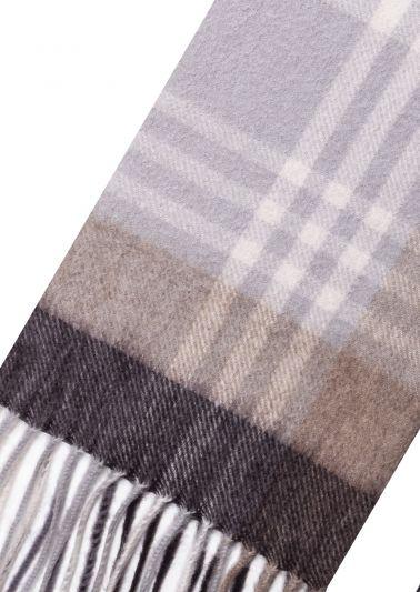 Cashmere Scarf | Grey Beige Tartan