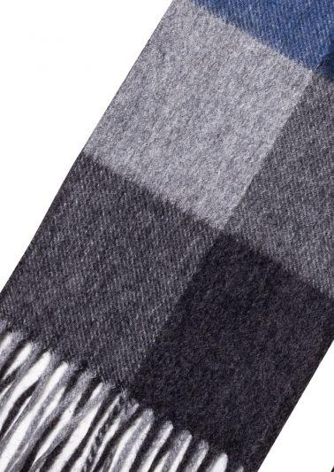 Cashmere Scarf | Grey Navy Tartan