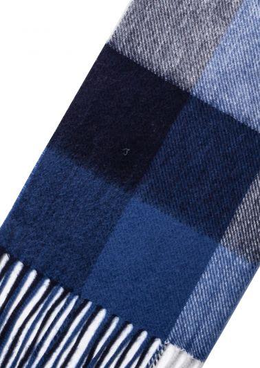 Cashmere Scarf | Blue White Tartan