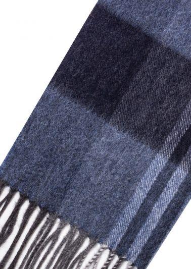 Cashmere Scarf | Navy Blue Tartan