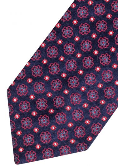Silk Tie | Navy with red pattern