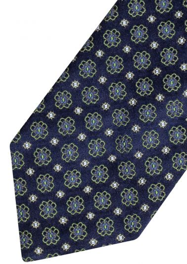 Silk Tie | Navy with green floral
