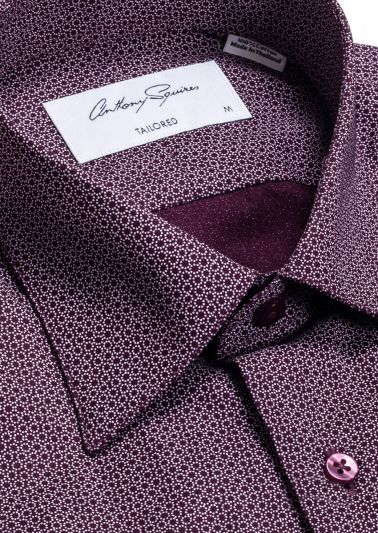 Fox Casual Shirt | Burgundy Print
