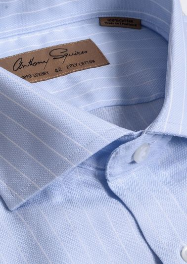 Manly Luxury Shirt | Blue Pinstripe