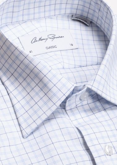 Roy Business Shirt | White Navy Fine Check