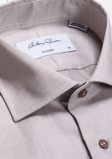 Nigel Business Shirt | Beige Self Design