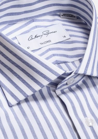 Nigel Business Shirt | White Blue Stripe