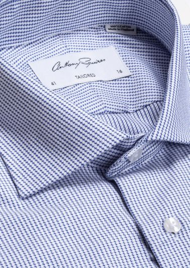 Nigel Business Shirt | Navy Microdesign