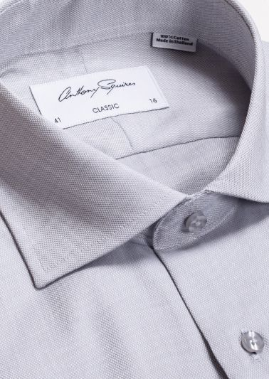Miles Business Shirt | Silver Grey Self Design