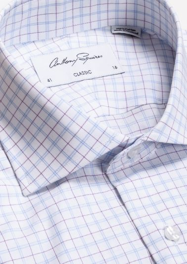 Miles Business Shirt | Blue Lilac Fine Check