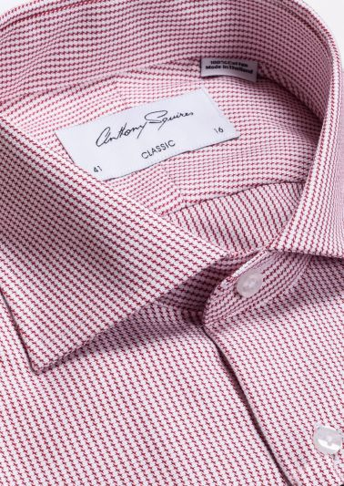 Miles Business Shirt | Red Microdesign