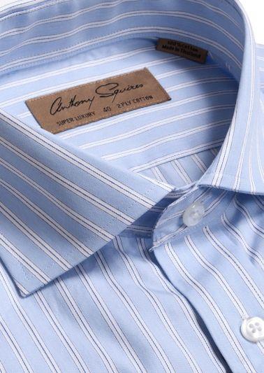 Coogee Luxury Shirt | Blue Satin Stripe